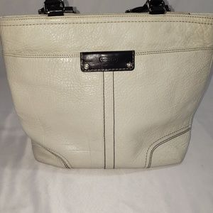 Coach Cream Leather Shoulder Tote Bag Purse